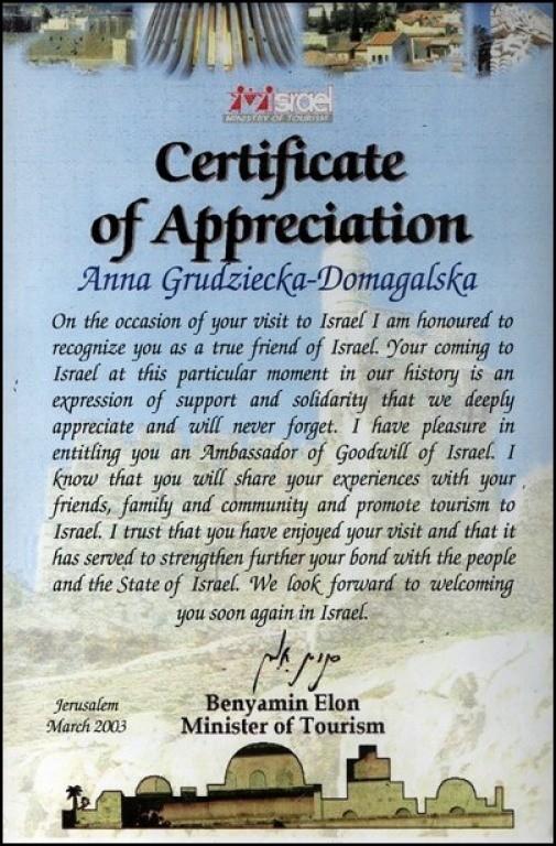 Certyfikat-Wdziecznosci-Ministerstwo-Turystyki-Izraela