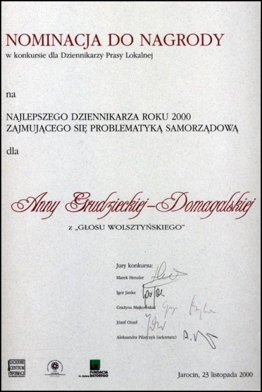 Nominacja-w-konkursie-Dziennikarz-Roku-Prasy-Lokalnej-2000
